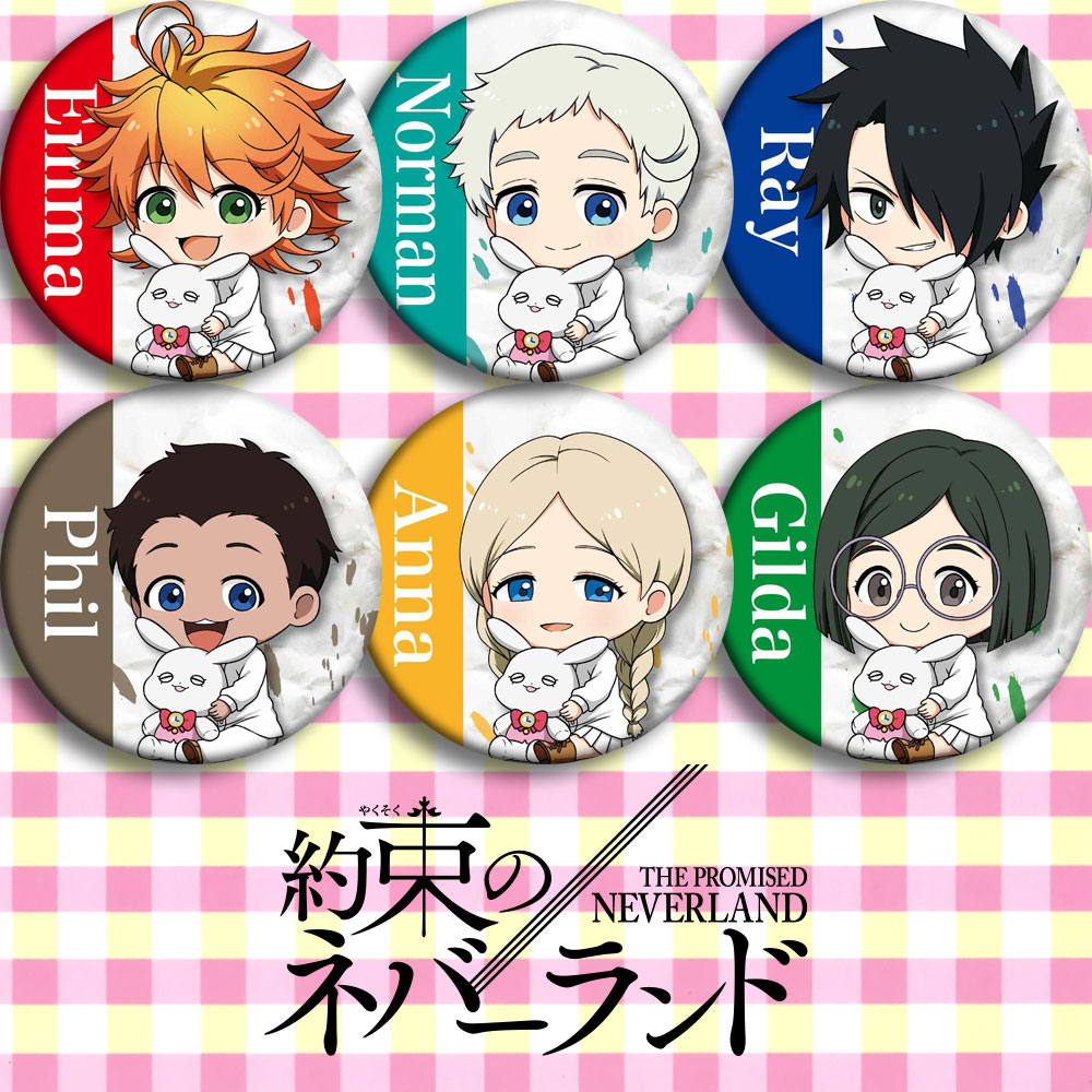 US $1 39 30% OFF|In Stock Child Gift Anime The Promised Neverland Phil  Gilda Don Ray Norman Emma Cosplay Prop Brooch Badge Emblem with Name on