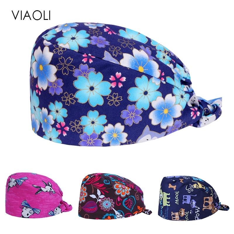 Men And Women Wholesale Cotton Scrub Cap Hospital Medical Hat Printing Tie Elastic Surgery Cap Pet Doctor Hat  Surgical Caps
