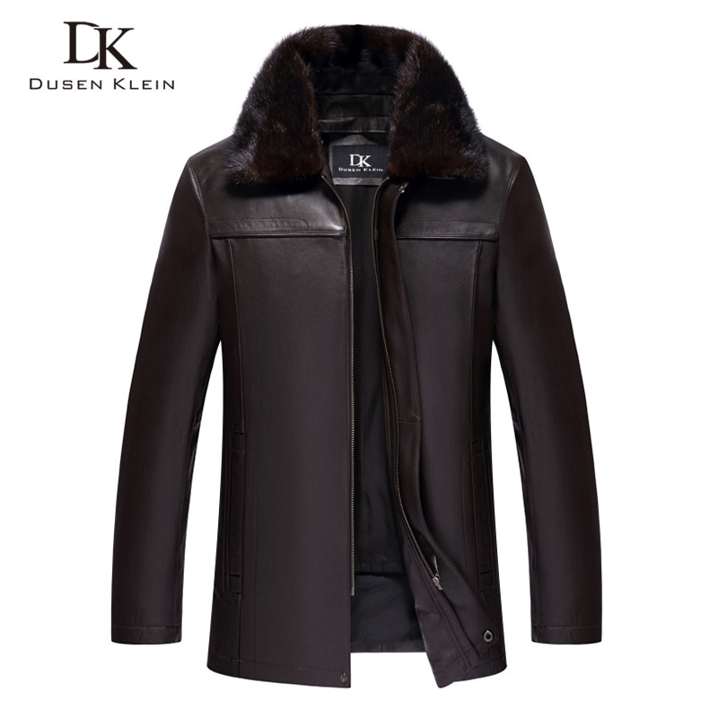 Men Genuine Leather Jackets Winter Warm Coat Mink fur collar+Rabbit hair liner+Sheepskin Short 2018 New Plus size Z15088a