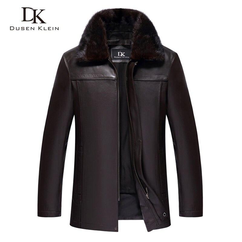 Men Genuine Leather Jackets Winter Warm Coat Mink fur collar+Rabbit hair liner+Sheepskin Short 2018 New Plus size Z15088a