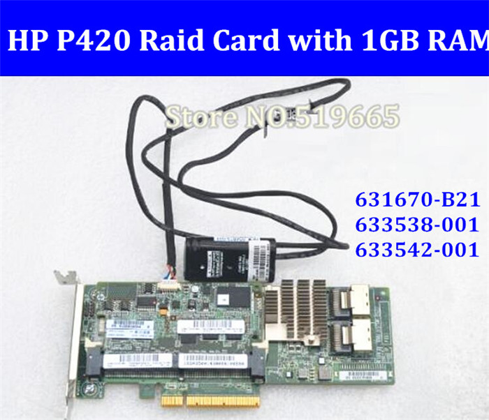 631670 B21 633538 001 633542 001 Array SAS P420 RAID Controller Card PCI E with 1G
