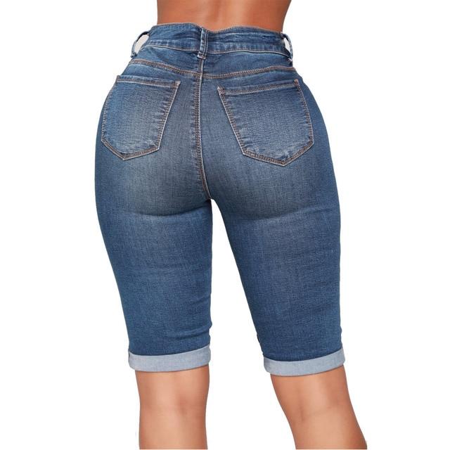 Moda streetwear sbiancato lavato polsini denim pantaloni moto pantacourt femme, calzoni corti per le donne, biciclette per le donne 2019