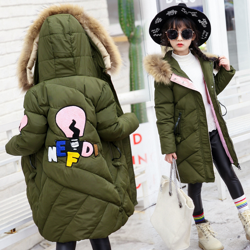 2017 Winter New Kids Girls Cotton Padded Coat Long Down Jacket Fur Collar Thicken Warm Children Parkas Casual Overcoat winter jacket female parkas hooded fur collar long down cotton jacket thicken warm cotton padded women coat plus size 3xl k450