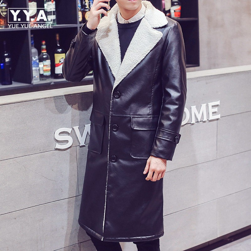 Fashion Mens Pu Leather Long Coat Thicken Cotton Lining Warm Winter Overcoats Large Size M-5XL Jackets Men Punk Casual Jaqueta