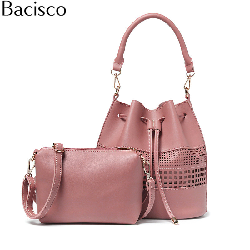 Bacisco vintage tassel leather crossbody bags for women hollow out purses handbag Composite Bag female shoulder bags vintage hollow out leaf tassel torque for women
