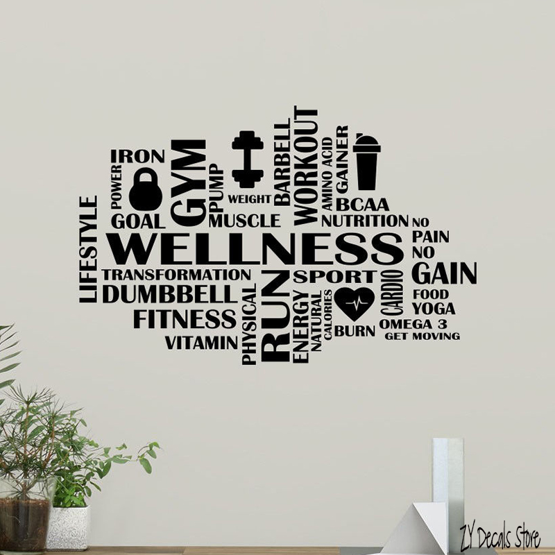 Gym Wall Design: Gym Word Cloud Wall Decal Fitness Motivation Fitness Vinyl