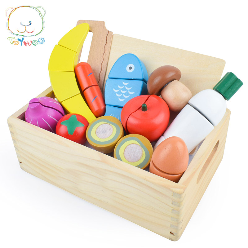 [Toy Woo] Children Gift Paste Cut Fruits And Vegetables Honestly See Boys And Girls Play House Wooden Toys