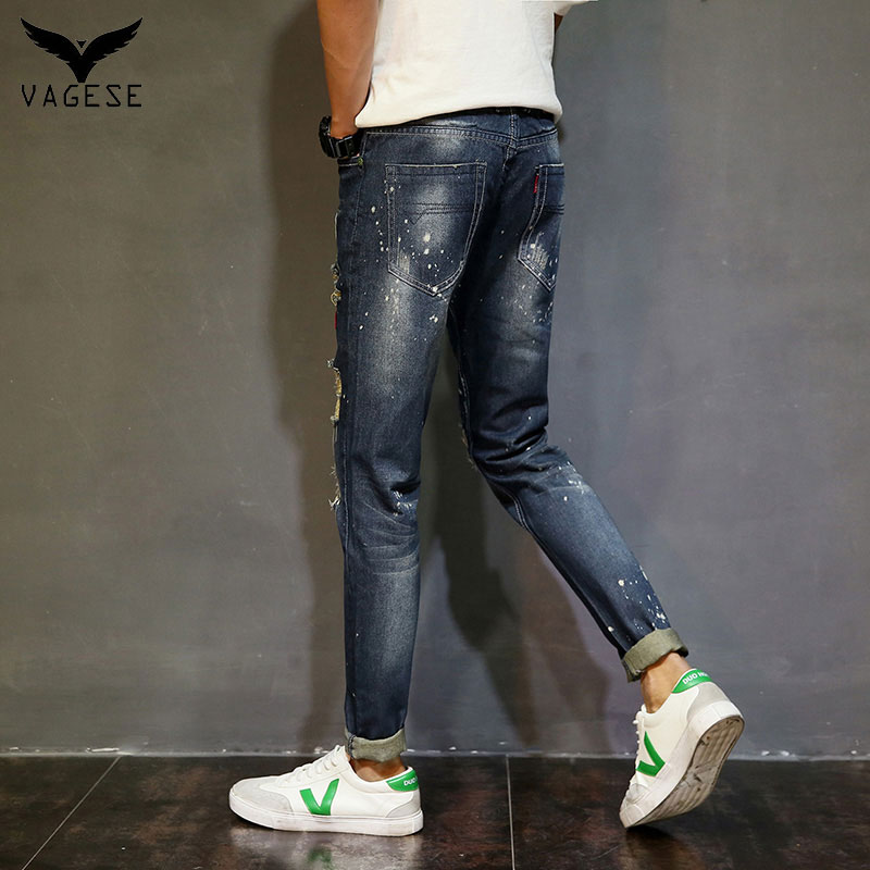 05d852f8c6 Nuevos hombres de la Moda Jean VAGESE Hombres Biker Jeans Rasgados Agujero  de Mezclilla Robin Parches Harem Recto Delgado Pantalones Vaqueros Pathwork  en ...