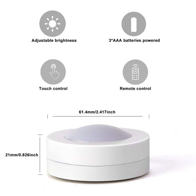Wireless Dimmable Touch Sensor LED Under Kitchen Cabinets lights LED Puck Lights For Close Wardrobe Stair Hallway Night lamp