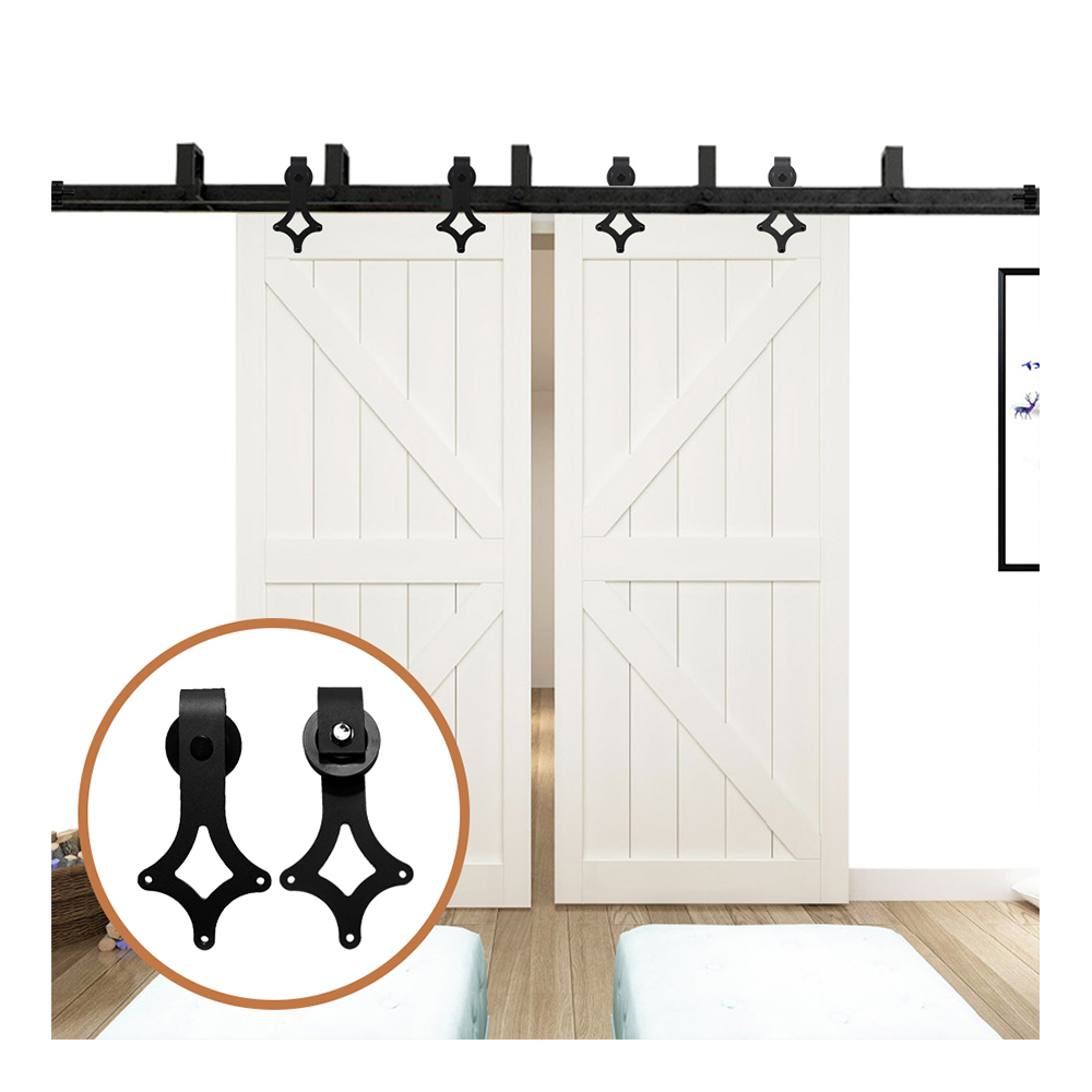 LWZH Sliding Wood Door Bypass Sliding Barn Door Hardware Kit Black Steel Rhombus Shaped Track Rollers For Interior Double Door