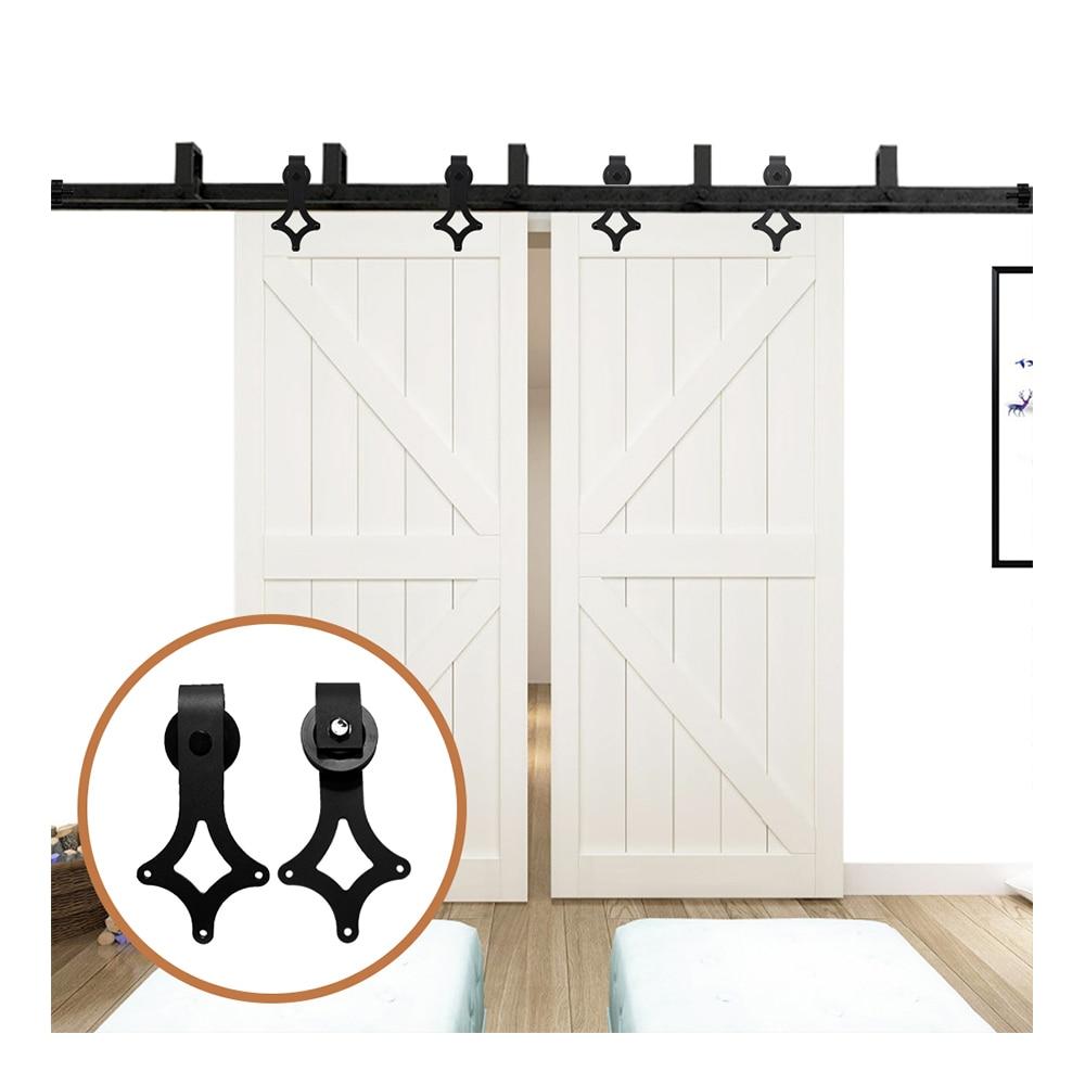 LWZH Sliding Wood Door Bypass Sliding Barn Door Hardware Kit Black Steel Rhombus Shaped Track Rollers For Interior Double Door