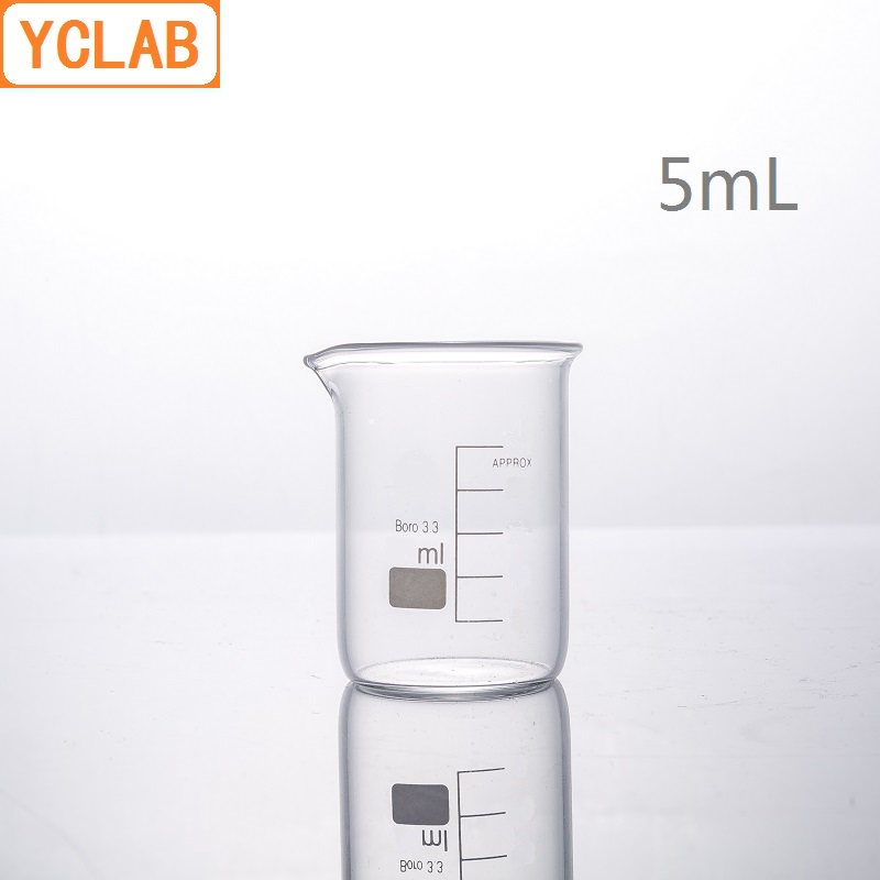 YCLAB 5mL Glass Beaker Low Form Borosilicate 3.3 Glass With Graduation And Spout Measuring Cup Laboratory Chemistry Equipment