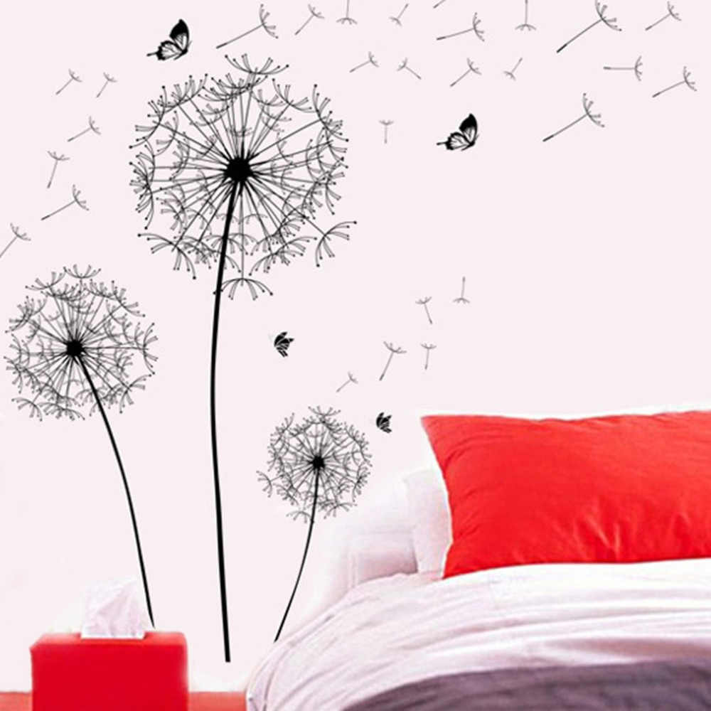 Dandelion Flower Butterfly Home Decal Wall Stickers Vinyl Living Room Sofa Background Decor DIY Home Decor Decal Mural