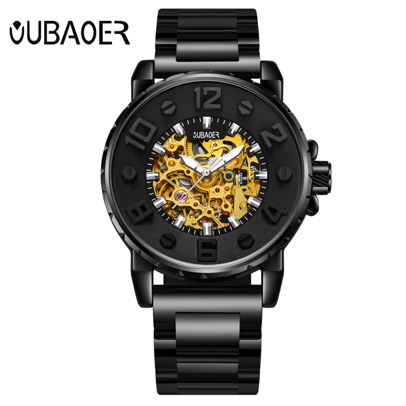 Automatic Mechanical Watch Men OUBAOER 3D Designer Top Brand Luxury Leather Luminous Skeleton Watch Male Wristwatch Men Watches