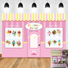 Neoback Ice Cream Store Baby Shower Photo Backdrop Girl Newborn Cake Pink Brick Wall Photography Background