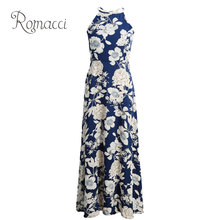 Romacci Sexy Women Boho Dress Halter Neck Floral Print Sleeveless Summer Dress 5XL Plus Size Maxi Long Beach Dress Vestidos 2019