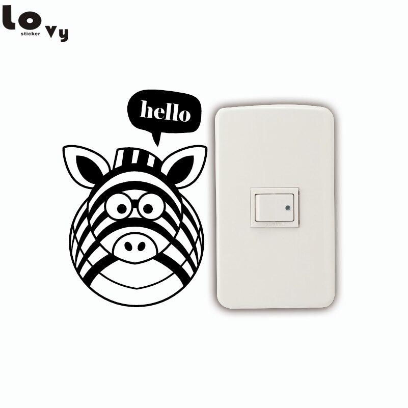 3f45e43c947 Interruptor de Luz Adesivo Animais Criativa Dos Desenhos Animados bonito  Olá Zebra Adesivo de Parede de Vinil para Quarto de Crianças Quarto Home  Decor