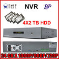 Alta resolução profissão cheia 2u onvif gravador de vídeo nvr 24ch 1080 P com HDMI P2P nuvem para câmera ip com 8 TB + frete grátis
