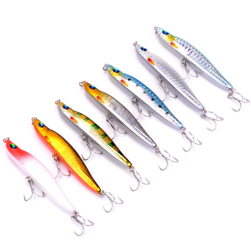 7pcs/set Pencil 10g/8cm Isca Artificial Hard Bait Pesca Minnow Fishing Lures Wobbler Crankbait Hook 3D Eyes Fishing Leurre sealurer fishing lure minnow hard bait pesca floating wobbler 8cm 7 5g isca carp crankbait jerkbait 5colors 1pcs lot