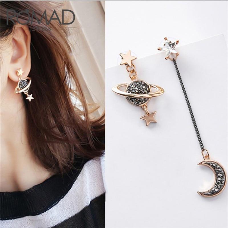 Romad Star Moon Stud Earrings Woman Fash