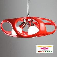 Современное искусство шаттл творческий мода ресторан бар декоративная лампа люстра красный / белый смолаы AC110-240V