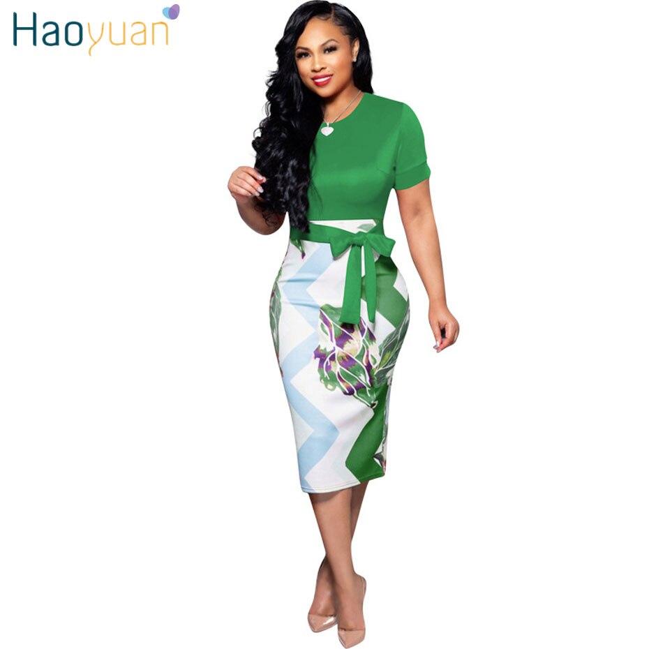 f6aabf6ef278 HAOYUAN Elegant Short Sleeve Bodycon Office Dress Women Clothes 2019 Summer  Dress Tunic Work Wear Evening Party Pencil Dresses