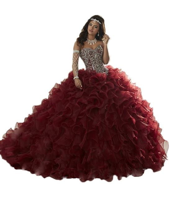 DK Bridal Burgundy Quinceanera Dresses Ball Gown Sweetheart Beaded Crystal Ruffles Sweet 16 Dress Vestidos De 15 Anos Party Gown