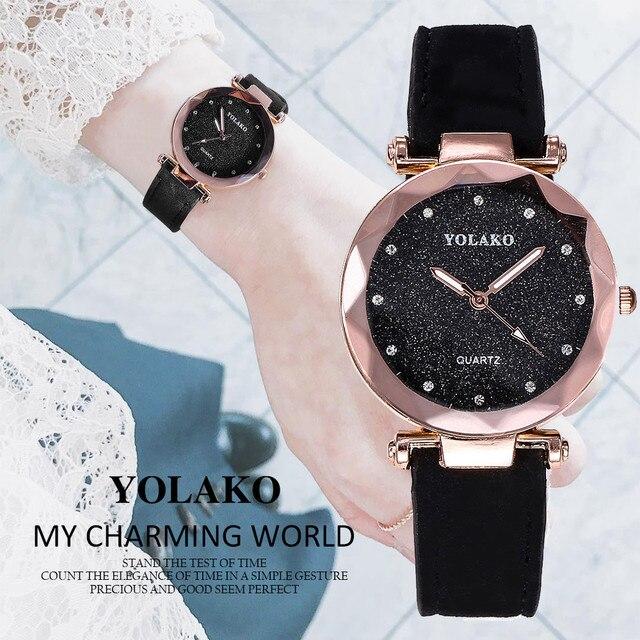 2018 new Women's Elegant Round Watches Casual Quartz Leather Band Starry Sky Watch Analog Wrist Watch Clock Relogio Feminino