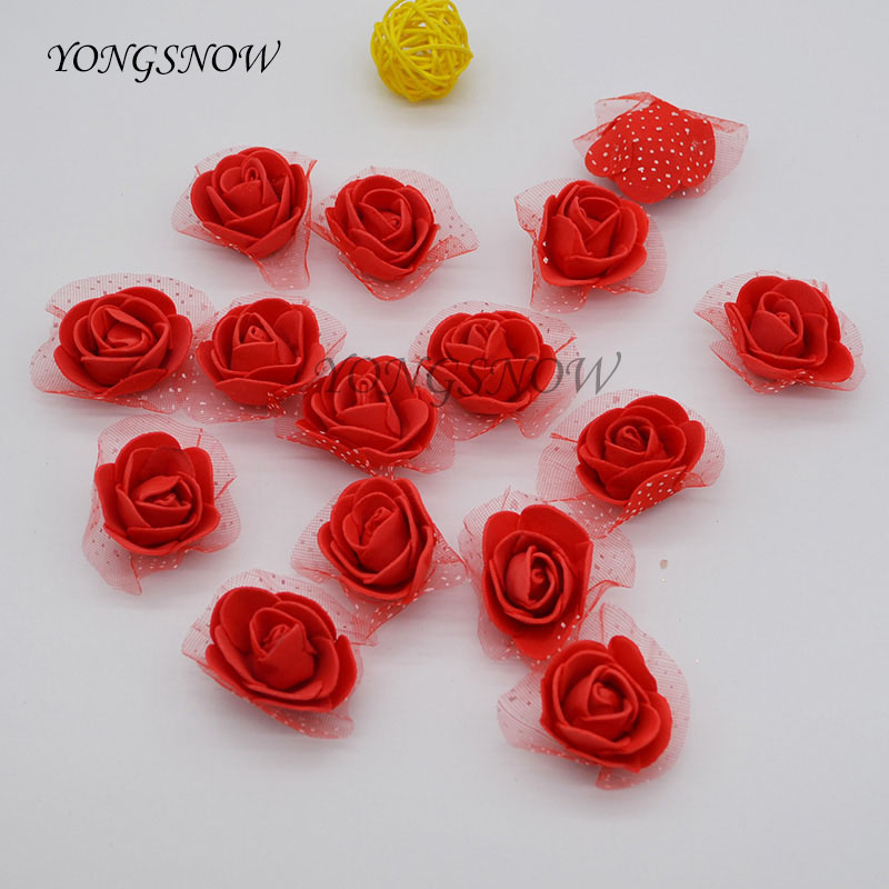 50Pcs/lot 3.5cm Diameter PE Foam Rose Artificial Silk Flower Heads DIY Wreaths Wedding Decoration Home Garden Supplies