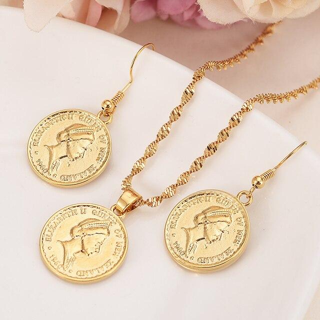 Gold New Zealand One Dollar Elizabeth Ii Souvenir Coin Pendant Earrings Women Party Bird Wedding Jewelry