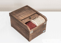 Japanese Wooden Rice Container Stocker (15KGS) Paulownia Wood Made 2 Colors Finish Rice Bin Rice Storage Box
