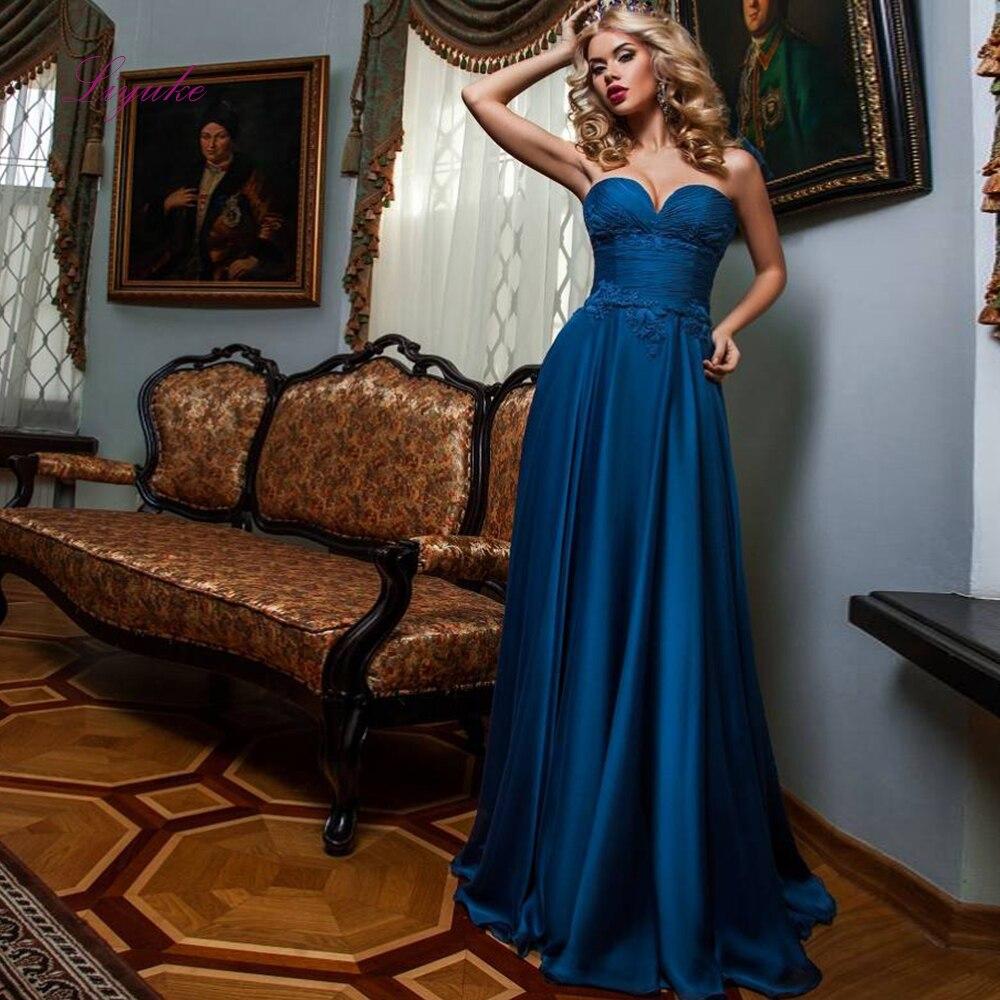 Liyuke a-ligne bretelles robe de soirée Appliques Empire Design robe de soirée longueur de plancher