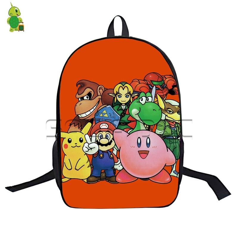 4843bf7d9d5e Chibi Super Smash Bros Bags Boys Girls School Backpack Cartoon Super Mario  Pikachu Kirby Backpack for