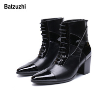 купить Batzuzhi Limited Edition 7cm High Heel Men Boots Short Pointed Toe Black Leather Dress Boots Men Handsome Lace-up botas hombre по цене 5987.35 рублей