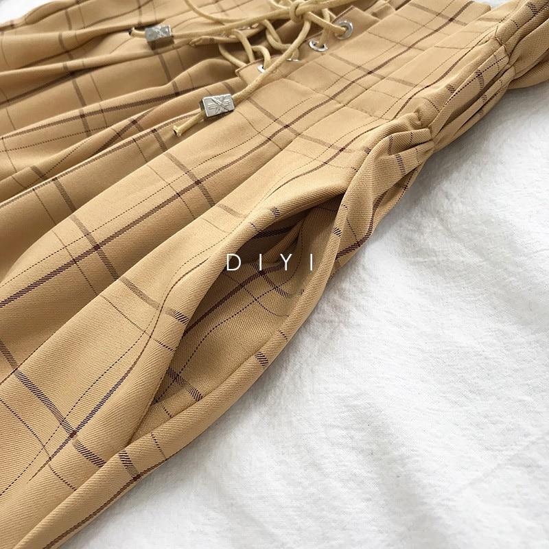 CamKemsey Japanese Harajuku Casual Pants Women 2019 Fashion Lace Up High Waist Ankle Length Loose Plaid Harem Pants 37