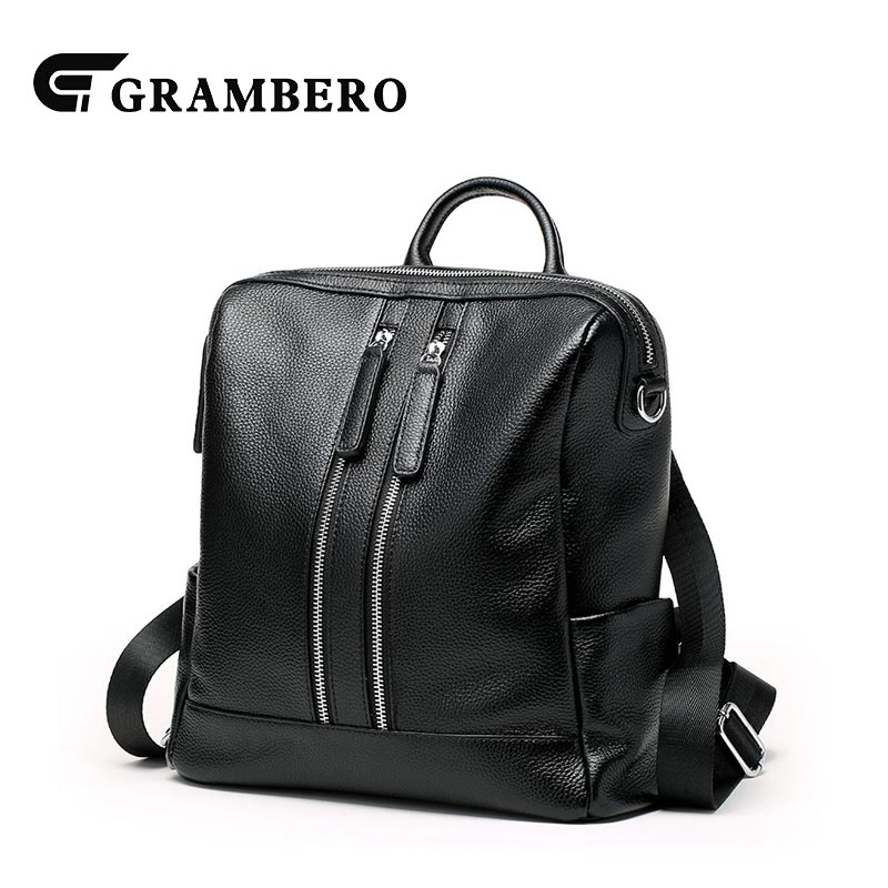 Creative Black Color Genuine Leather Women Backpack Zipper Soft Cow Leather Spring Summer Shoulder Bag Student School Bag Gifts 2018 new style soft genuine leather zipper backpack black color cow leather women fashion bag for party sent friends school bags