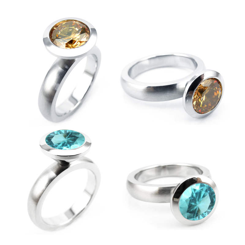 R01-9 stainless steel DIY ring 12 birthstone