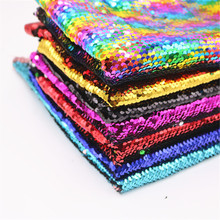 1yard 135cm Width Double-side 5mm Sequins Reversible Fabric Polyester Sewing Synthetic DIY Material for Handbag Garments