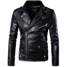 цены на New Retro Vintage Faux Leather Motorcycle Jacket Men Turn Down Collar Moto Jacket Adjustable Waist Belt Jacket Coats Size M-5XL  в интернет-магазинах