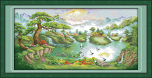 Cranes dance in the pine peak cross stitch kit 18ct 14ct 11ct count printed canvas stitching embroidery DIY handmade needlework