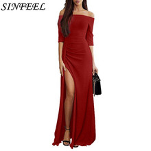 3XL Long Maxi Dress Women Sexy High Split Long Dress 2019 Solid Slash Neck Half Sleeve Autumn Spring Dresses Vestidos Plus Size цена