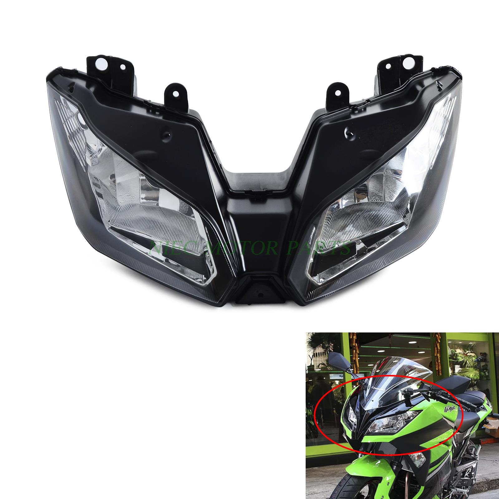 цены Motorcycle Headlights Headlamp Head Light Lamp Assembly For Kawasaki NINJA 300 ABS EX300 2013-2016 VERSYS 650 1000 2015 2016