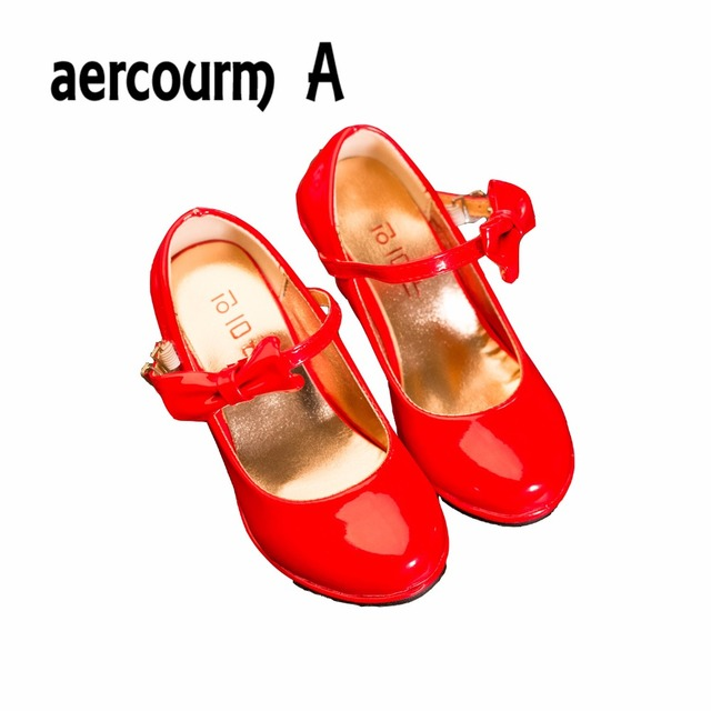 Aercourm A Girls Patent Leather Shoes High Heels Shoe Kids Red Children Shoes 2017 Spring Autumn Girls Leather Shoes Girls Black