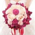 Mais novo Nupcial Do Casamento Bouquet de mariage Pérolas Da Dama de honra Bouquets De Casamento Flor de Cristal Artificial buque de noiva 2017