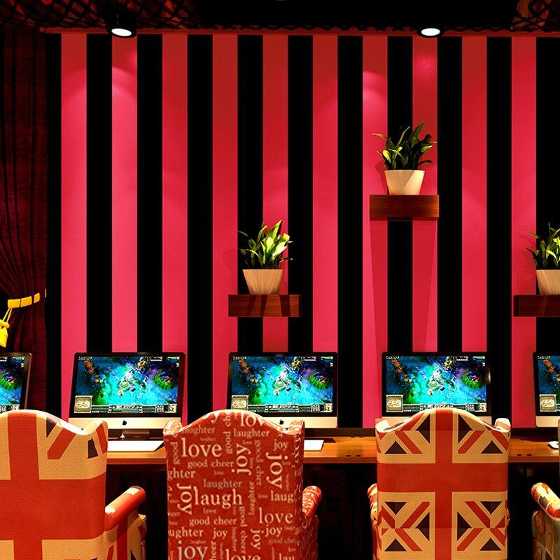 Moderne rouge noir rayures papier peint mode noir argent papier peint rouleau salon décor à la maison