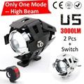 Um Modo Hgih Feixe 2 PCS 125 W 2 Cor Da Motocicleta moto Farol 3000LM U5 LED de Condução Nevoeiro Cabeça Luz do Ponto lâmpada