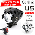 Un Modo de Haz 2 UNIDS Hgih 125 W 2 Color de La Motocicleta moto Faro 3000LM LED U5 Conducción Fog Spot Light Head lámpara