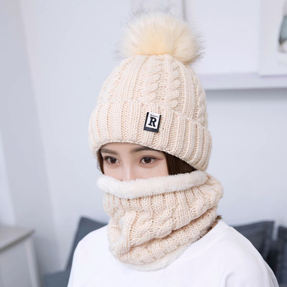 United 2pcs Women Winter Warm Knitted Venonat Hats Woman Bonnet Femme Hiver Beanie Hat+scarf Keep Warm Set Czapka Zimowa New Hot