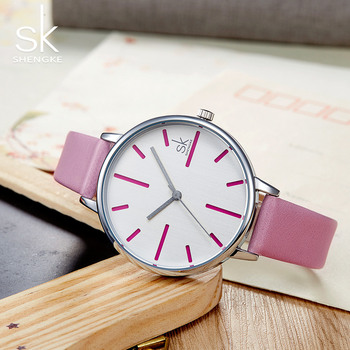 Shengke Best Women Luxury Brand Quartz Watch Women's Clock Fashion Casucl Wristwatches Quartz-watch Ladies Leather Watches image