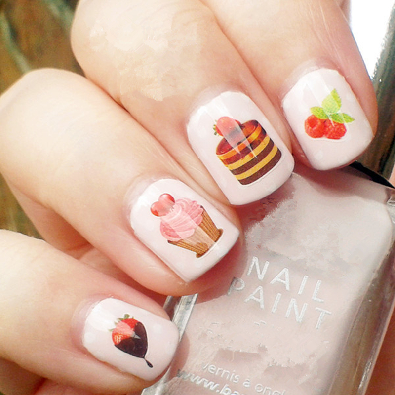 Sweety Strawberry Cakes Pattern Nail Art Water Decals Transfers Sticker Manicure Nail Art Decoration 1 sheet halloween pumpkin and skull pattern nail art water decals transfers sticker